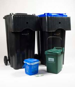 Household waste and recycling bins