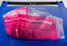 Photo of battery recycling bag