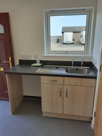 sink unit in the main area of the chalet
